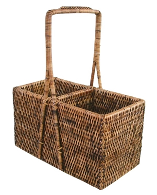 "Wine Carrier Basket (2-bottle)  - AB 9.5x4.5x5.75/12""H .."