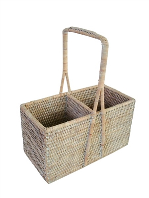"Wine Carrier Basket (2-bottle) - WW 9.5x4.5x5.75/12""H.."