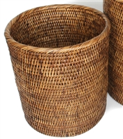 "Round Waste Basket Not Tapered (11"" x 10H"") Antique Brown"