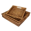 "Set  of 3 Square Tray  w/ Handles  - AB 16x3/14x2.5/12x2.25"".."