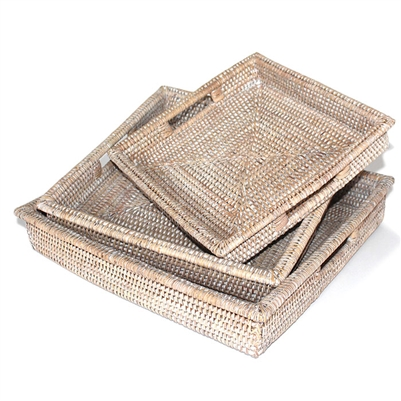 Set  of 3 Square Tray  w/ Handles - WW 16x3/14x2.5/12x2.25'