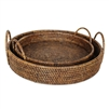 "Round Tray with Loop Handles - AB 15x3""/5"", 13x2""/4"".."