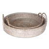 "Round Tray with Loop Handles- WW 15x3""/5"", 13x2""/4"" .."