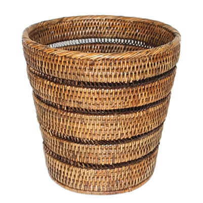 "Waste Basket with Pattern Weave - AB 10.5/8x10""H.."