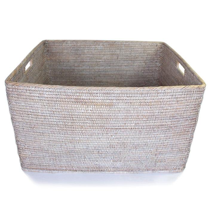 rattan basket small from storage box.htm storage basket with cutout handles ww 26x22x15 h  storage basket with cutout handles ww