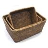 "Rectangular Storage Basket Set of 3 - AB 10x7x4""/12x9x5""/13x10x5.5"".."