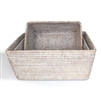 "Rectangular Storage Basket Set of 3 - WW 10x7x4""/12x9x5""/13x10x5.5"".."