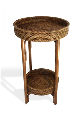 "Round Side Table with Removable Tray - AB 18"" wide x 28"" high (removable tray 14"" wide x 3""high).."