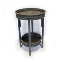 Round Side Table with Removable Tray - Grey Wash 18' wide x 28' high