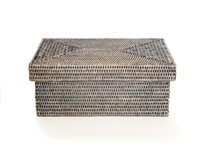 Rectangular Storage Basket with Removable Lid - Grey Wash Small 14x10x6'