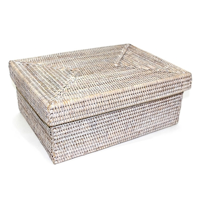 "Rectangular Storage Basket with Removable Lid - WW Small 14x10x6"".."