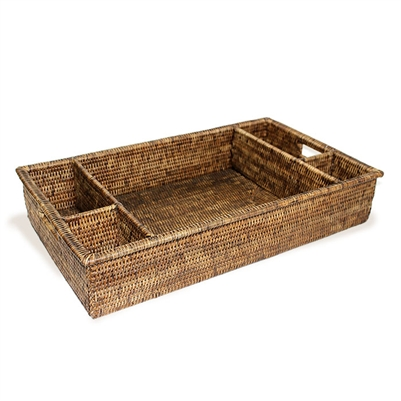 "5-section Tray with Cutout Handles - AB 25x15x5""H.."