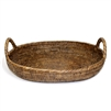 "Oval Tray with Loop Handles - AB 16x13x2.5(5)""H.."