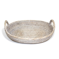 "Oval Tray with Loop Handles - WW 16x13x2.5(5)""H.."