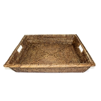 "Square Angle Tray with Cutout Handles  - AB 17x3""H.."