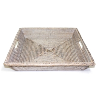 "Square Angle Tray with Cutout Handles - WW 17x3""H.."