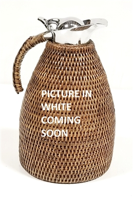 Rattan Thermal Coffee Carafe  (Stainless Steel) 50 oz White Wash