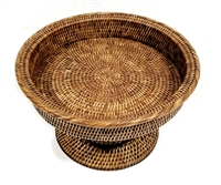 Round Medium Footed Fruit Tray 14x8'H Antique Brown