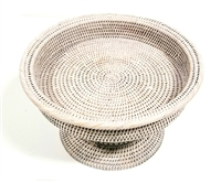 Round Medium Footed Fruit Tray 14x8'H White Wash