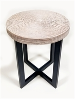 Round Side Table w/ Wood Frame 19x23.5'H White Wash