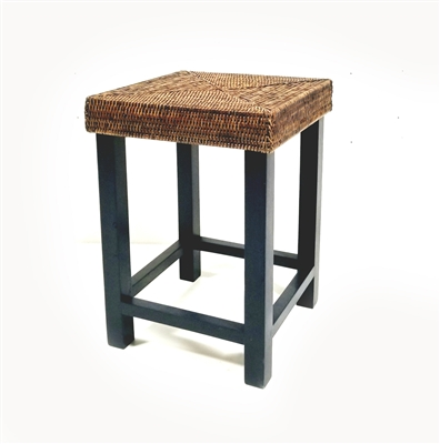 Square Stool w/ Wood Frame 13x13x18' Antique Brown