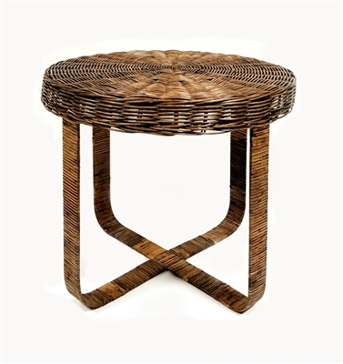 Beatnik Round Rattan Table w/ Metal Base 20x18' Antique Brown