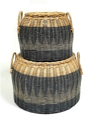 S/2 Lidded Round Basket Straw Handles Grey Wash and Natural  16x10'/12x9'