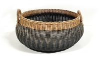 Vintage Globular Basket Straw Handles Grey Wash and Natural 22x10'