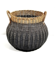 Vintage Globular Basket Straw Handles Grey Wash and Natural 18x14'