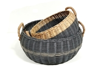 S/2 Emma Round Basket Straw Handles Grey Wash and Natural 16/14x7' / 20/18x8'