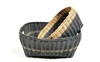 S/2 Burmese Family Basket Straw Handles Grey Wash and Natural  20x16x9'/16x12x8'