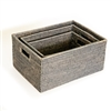 Rectangular Set of 3 Baskets w/ Handles - Grey Wash 12x15.5x7.5'/10x14x6.25'/8x12x5'