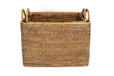 Rectangular Set  of 2 Nested Baskets w/ Loop Handles   - AB 20x15x14(17')'/17x12.5x13(16)'