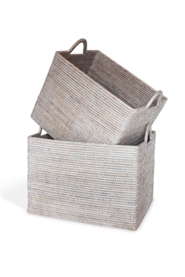 Rectangular Set  of 2 Nested Baskets w/ Loop Handles  - WW  20x15x14(17')'/17x12.5x13(16)'