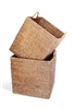 Square Set  of 2 Nested Baskets w/ Loop Handles  - AB 17.75x17.75'/15.25x17.25'
