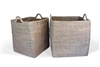 Square Set  of 2 Nested Baskets w/ Loop Handles - WW 17.75x17.75'/15.25x17.25'