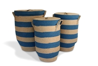 "Round hamper with tapered bottom set of 3..Material: Natural Jute with Light Blue (Wide Stripe)  Large-16X23"", Medium-14X21"", Small-12X20"".."