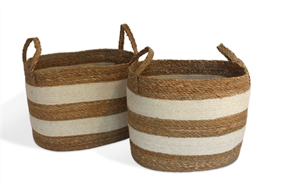 "S/2 Oval Laundry Tote Basket Loop Handle - Bleach White Jute with Hogla/Typha (19.5x14x13"" / Medium17x12x13"")"