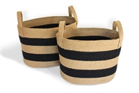 "S/2 Oval Laundry Tote Basket Loop Handle - Natural Jute Black Stripe (19.5x14x13"" / 17x12x13"")"