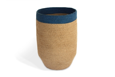 "Jute Trash Bin Tapered Bottom - Natural Body/Light Blue Border (10x14"")"