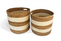 "S/2 Round Storage Basket Cut Out Handles - Bleach White Jute with Hogla/Typha Wide Stripe (15x14"" / 14x13"")"