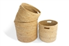 "Round storage basket with cut out handle set of 3 Material: Bleached White Jute with Hogla/Typha(Mini Stripe) Size: Large-15X14"", Medium- 14X13"", Small- 12X12"""