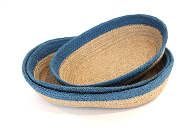 Jute  oval Tray(set of 3) Material: Natural cream Jute with light blue border