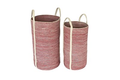 "S/2 Jute Tall Round Laundry Basket Long Handle - Red/Bleach White Mini Stripe (13.5x24""/11x22"")"