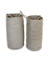 "S/2 Jute Tall Round Laundry Basket Long Handle - Silver Grey/Bleach White Mini Stripe (13.5x24""/11x22"")"