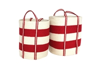 "S/2 Jute Round Laundry Basket Long Handle - Red/Bleach White Wide Stripe (15x17""/13x15"")"