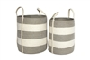"S/2 Jute Round Laundry Basket Long Handle - Silver Grey/Bleach White Wide Stripe (15x17""/13x15"")"