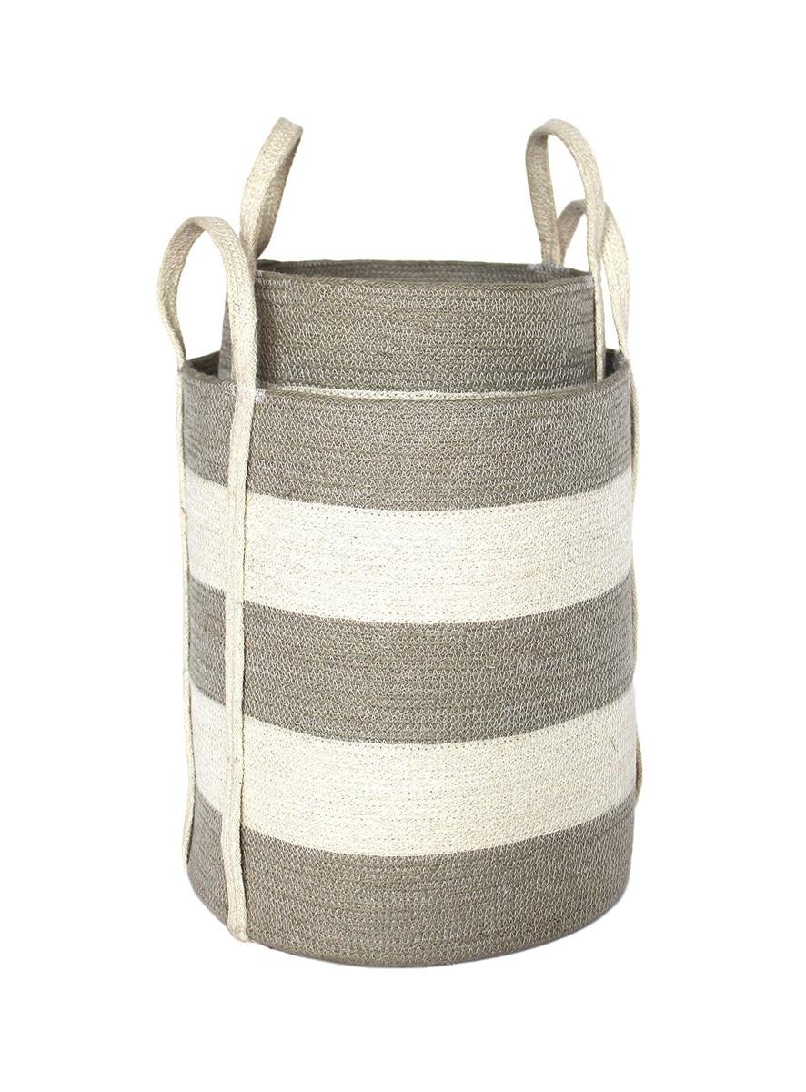 S 2 Jute Round Laundry Basket Long Handle Silver Grey