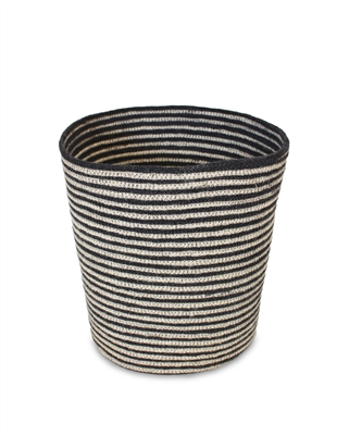 "Jute Round Conical Basket - Dark Grey/Bleach White Mini Stripe (9x11x11"")"