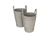 "S/2 Jute Round Conical Basket Long Handles - Silver Grey Outside/Bleach White Inside (10x14x18""/8.5x12.5x16"")"